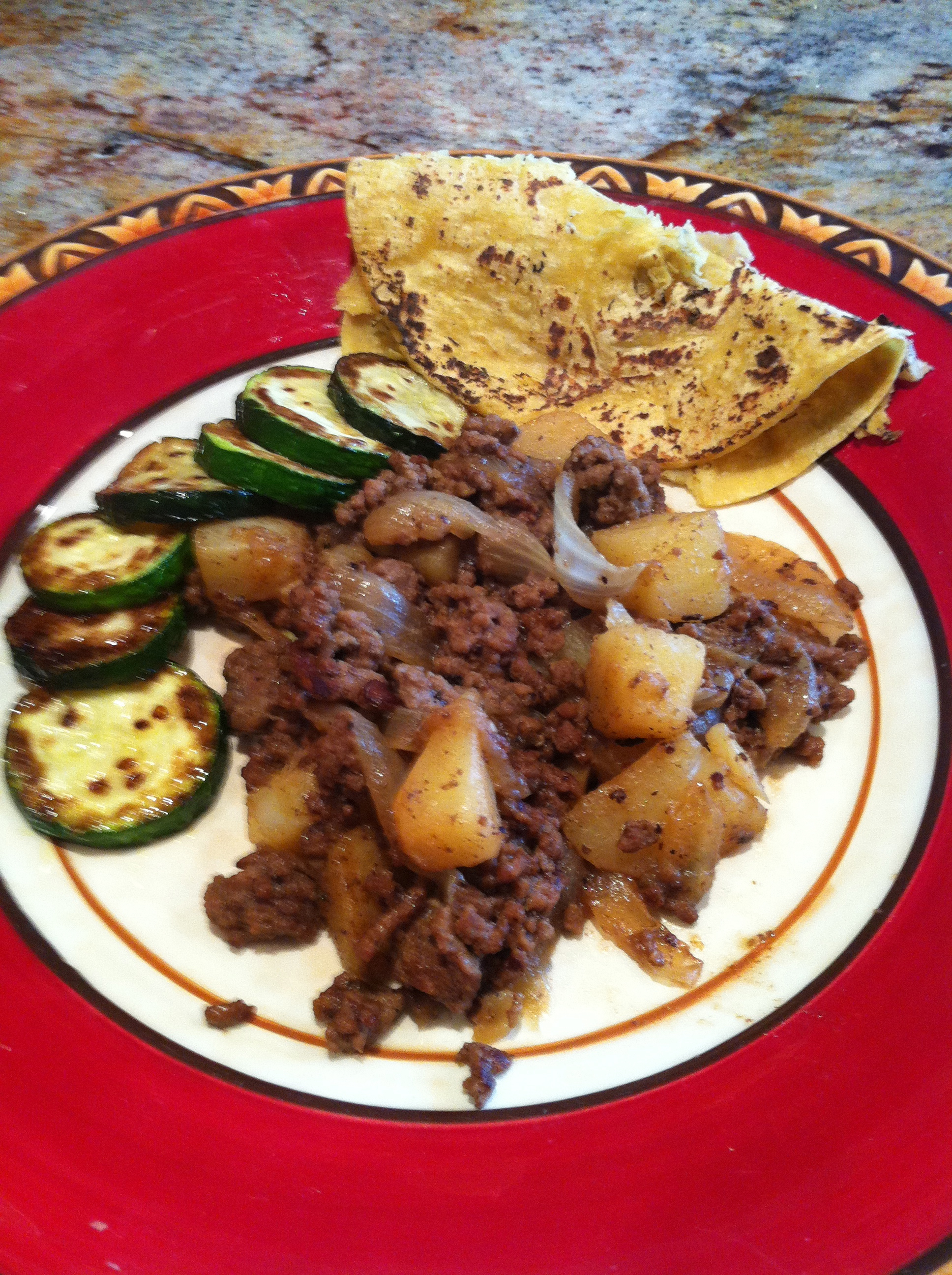 Picadillo Texas Mexican style with Cooked Green Salsa