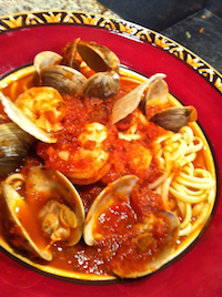 Fettucine with Clams, Shrimp, Chile (Fra Diavolo)