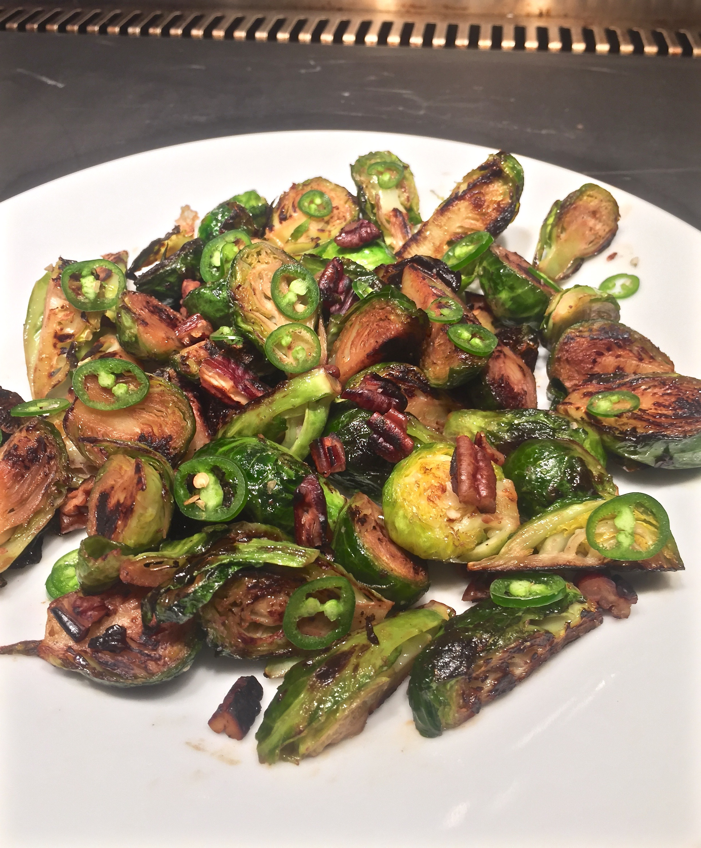 Brussels Sprouts with Serrano and Pecans