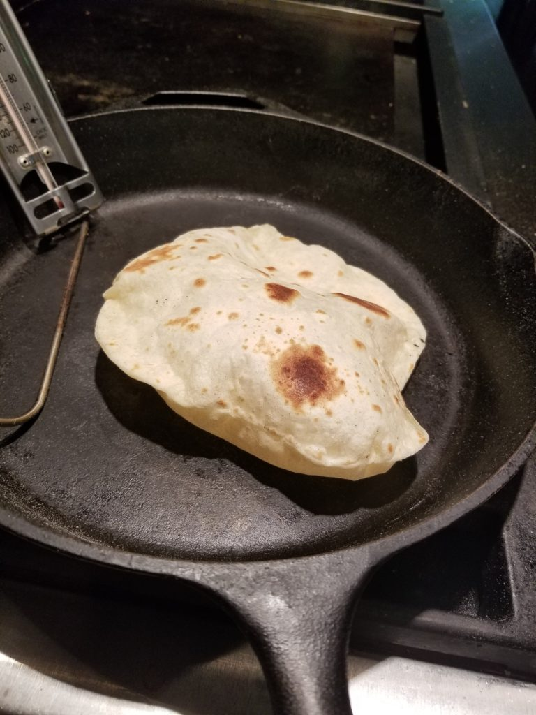 Flour tortillas puff up