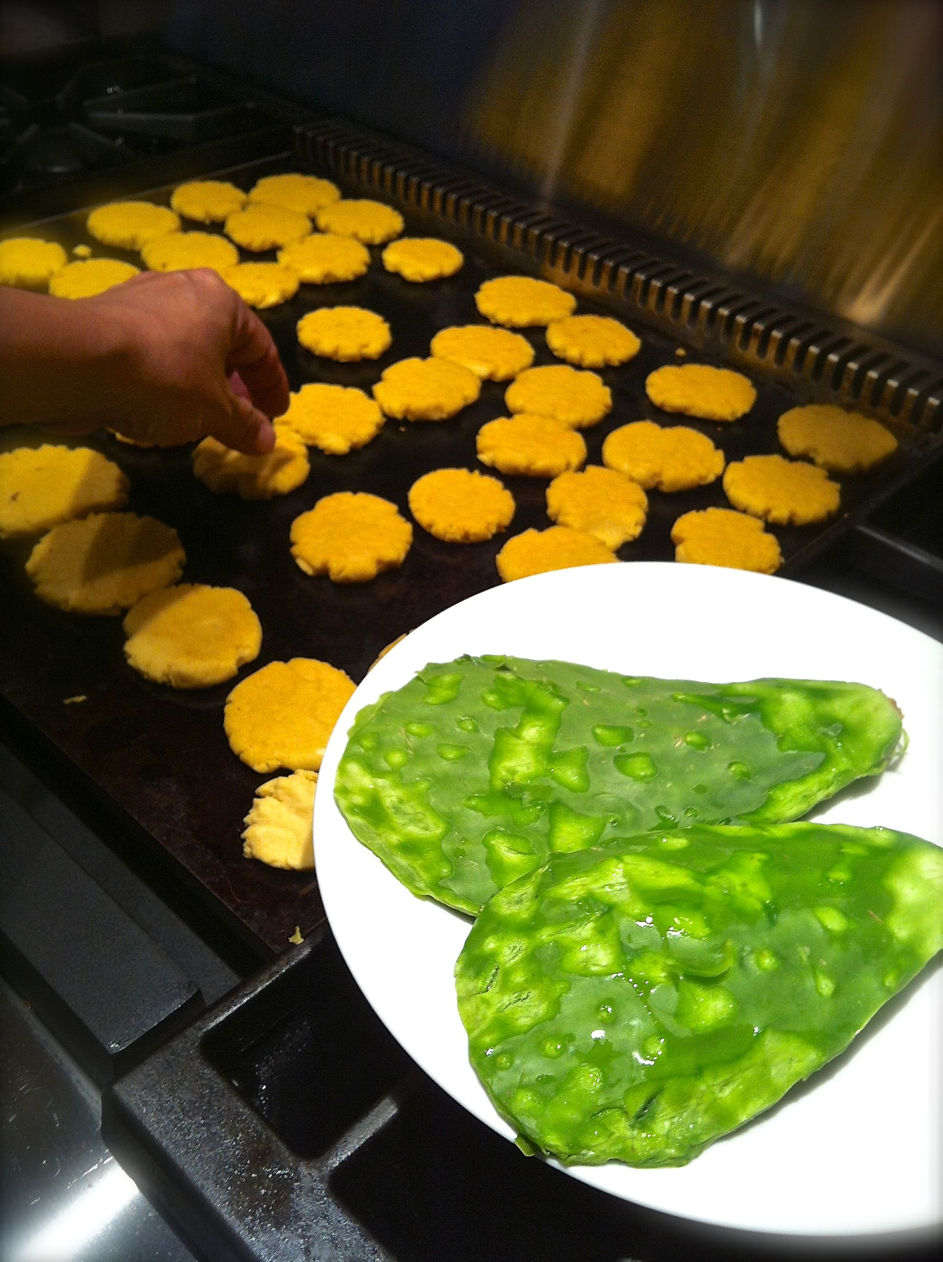 Texas Mexican cooking traditional gorditas with cactus