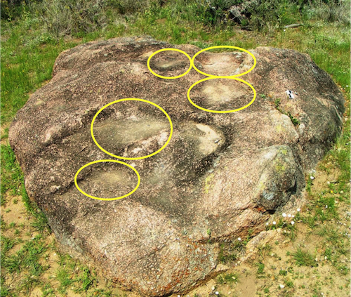 Granite mortars in Enchanted Rock, Texas