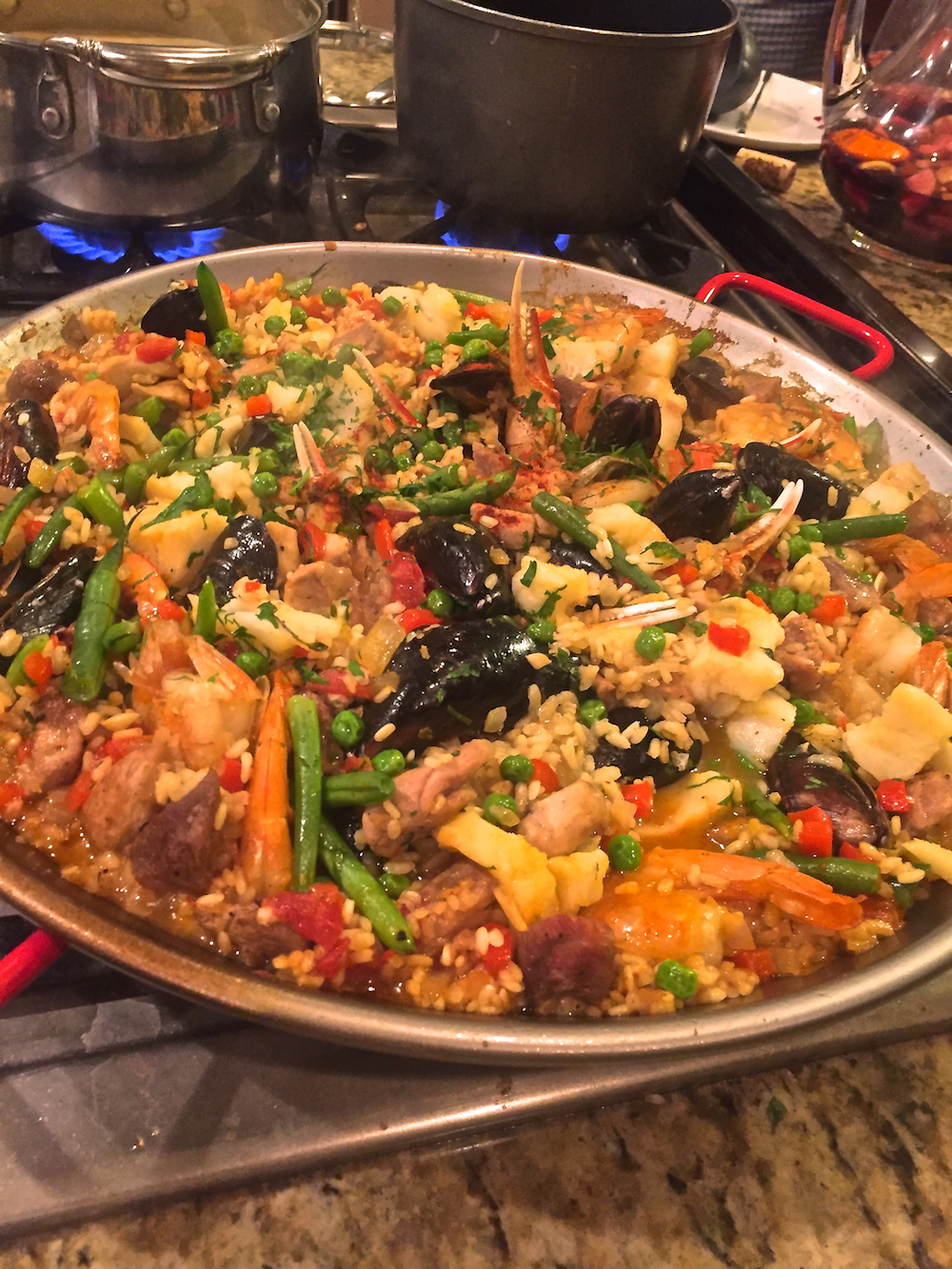 Spanish Paella, seafood and vegetables