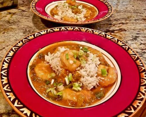 Shrimp Etouffee pops with Chile De Arbol