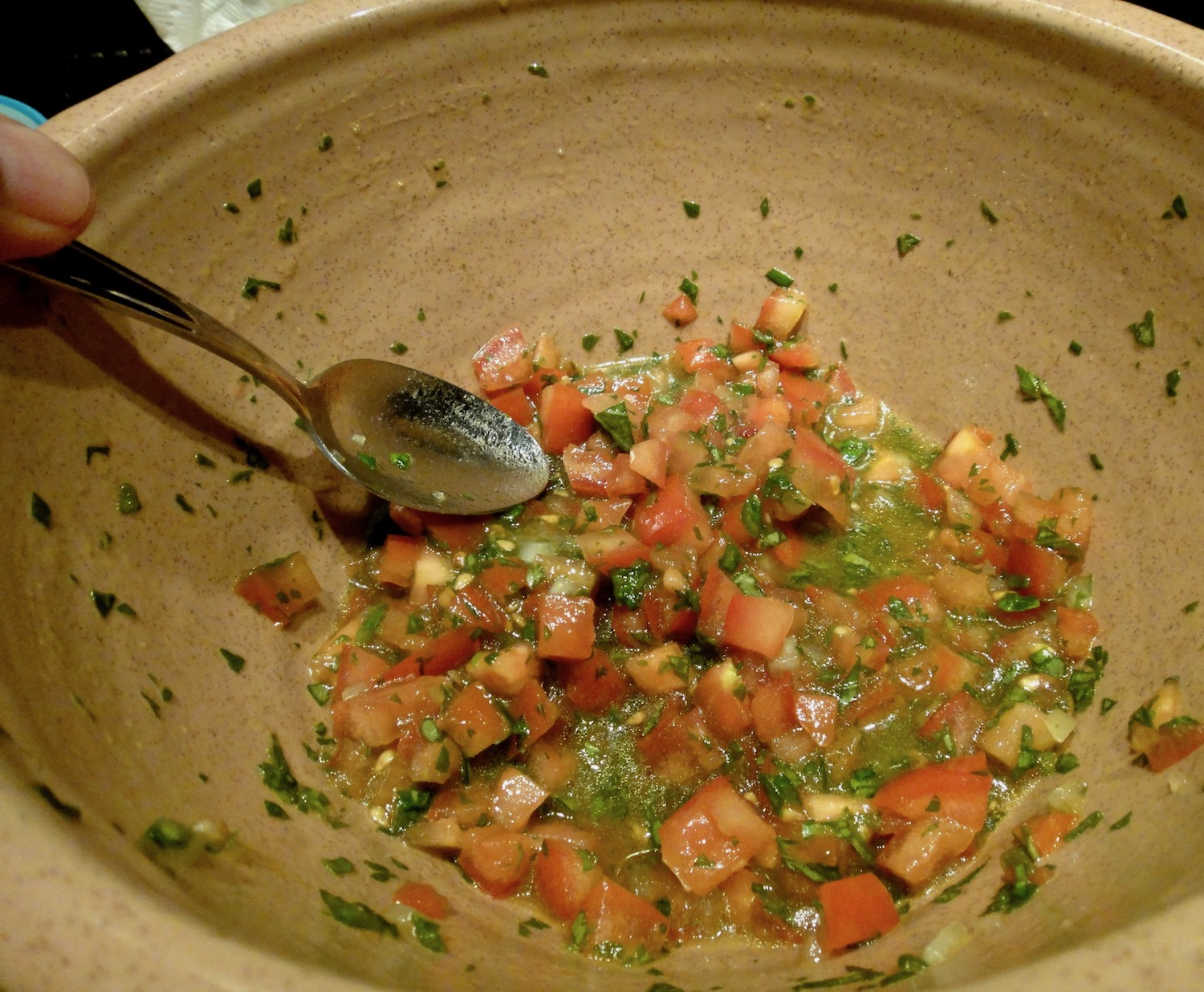 basil bruschetta mix in bowl