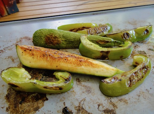 Roasting Squash and Bell Peppers
