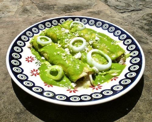 Enchiladas Verdes With Crema Mexicana