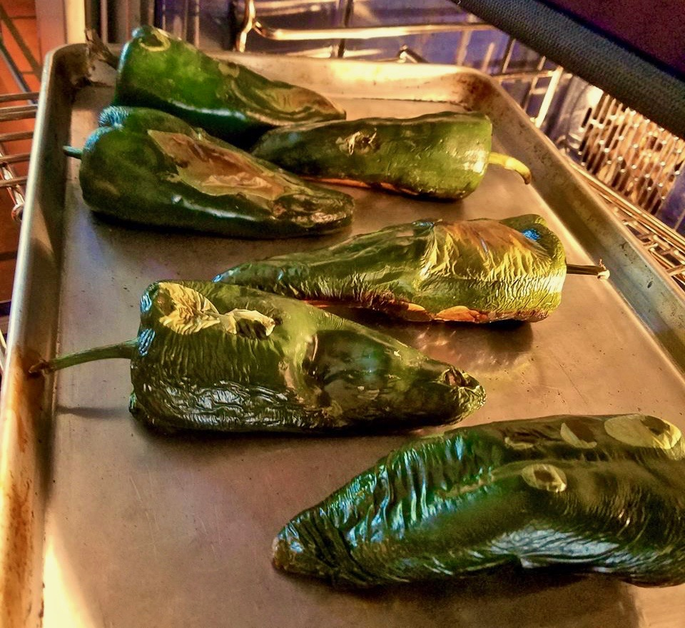 Poblano Chiles Roasting