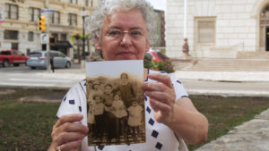 Graciela Sanchez, Director of the Esperanza Peace and Justice Center, shows the picture of her great grandmother, Teresita Cantú, who was one of the original San Antonio Chefs.