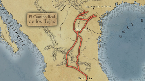 Original trade routes built by Native American peoples of Texas and Mexico that later the Spanish named Camino Real