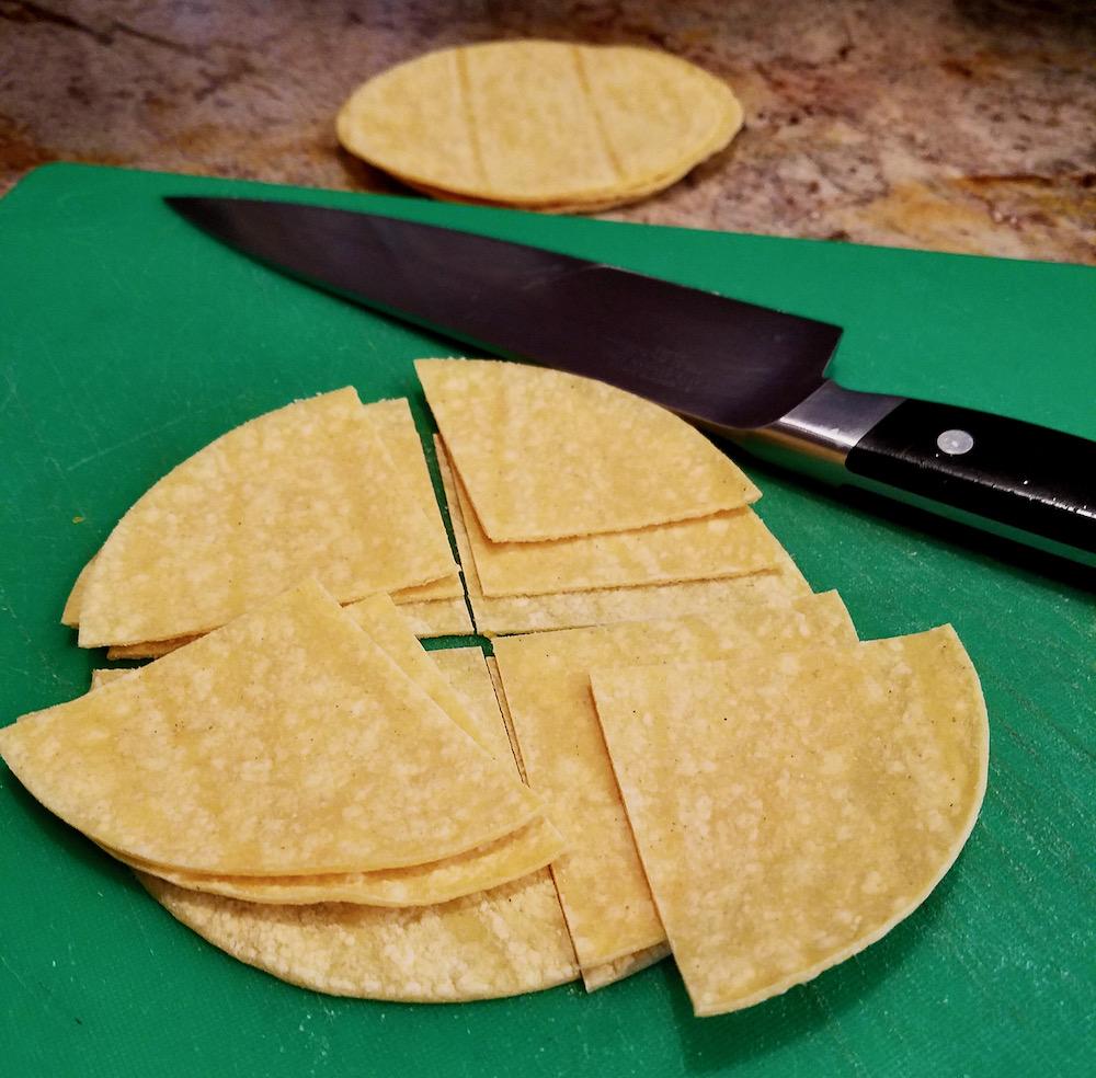 Corn Tortilla Triangles for Chilaquiles